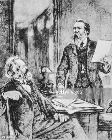 Karl Marx. Friedrich Engels. 1865. (Photo by: Marka/UIG via Getty Images)